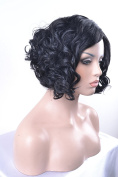 eNilecor Black Short Wavy Curly Wigs Natural Looking Bob Wigs for Black Women Heat Resistant Synthetic Wig