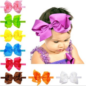 PETMALL 5pcs Girls Big Bows Infant Baby Flower Headband , Hair Elastic Headbands Bows Hair band kids Children Fabric Accessories E007