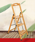 Solid Wood Folding Ladder Home Creative Multi-functional Bamboo Stairs Chair Ladder Indoor Ladder