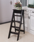 Solid Wood Ladder Creative Multi-functional Home Indoors Folding Ladder Five Layers Climb The Ladder