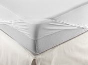 Velamen Mattress Protector and Fitted Sheet Bed Jersey Waterproof Breathable 2 Products in One, White, white, 90 x 200 cm