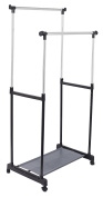 Internet's Best Portable Double Rail Clothes Garment Rack | Steel Rolling Closet Wardrobe Organiser | Adjustable Height and Expandable Hanging Rod | Bottom Shoe Shelf | On Wheels | Chrome & Black