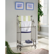 K & B Traditional Style Towel Rack having 3 bars, a shelf and pewter finish with swirled designs