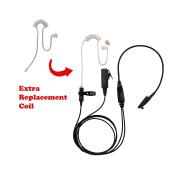 BOMMEOW BCT22RT-M5 2-Wire Clear Coil Surveillance Kit Earphone for Motorola with Extra Replacement Coil