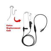 BOMMEOW BCT22RT-I2 2-Wire Clear Coil Surveillance Kit Earphone for ICOM with Extra Replacement Coil