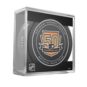 Philadelphia Flyers Sher-Wood 50th Anniversary Official Game Puck in Cube