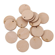 Jili Online 100 Pieces Unfinished Blank Wood Pieces Slices Round Hanging Gift Tags with Hole for Crafts DIY 30mm