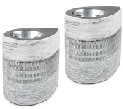 Set of 2 BRUBAKER Tea Light Candle Holders Porcelain Silver White - including 10 Tea Lights