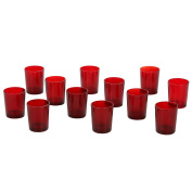 Hosley's Set of 12 Red Glass Votive, Tea Light Holders. Ideal for Parties, Weddings, Spa, Events, Votive Candle Gardens