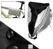 DIKETE® Newest Bicycle Cover with Stainless Steel Anti-theft Lockhole and Buckle Rain Proof Dustproof Sun UV Protective Heavy Duty Bike Seat Foldable Protective cover XL + [Storage Bag] Black+Silver