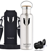 Super Sparrow Stainless Steel Vacuum Insulated Water Bottle, Double Wall Design,Standard Mouth - 500ml & 750ml & 1000ml - Eco Friendly & BPA Free - For Running, Gym, Yoga,Cycling, Outdoors and Camping, Car - Ideal as Sports Water Bottle - with 2 Exchan ..