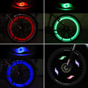 Tagvo 4pcs Bike Spoke Light (Red + Green + Blue + Multicolour), Easy Installing Wheel Spoke Lights for Both Adults Kids Bike, Water Resistant LED Neon Tyre Flash Lamp with 3 Flashing Models