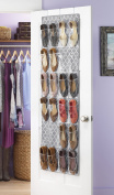 Whitmor Over The Door Shoe Bag-24 Pkts.-Grey Trellis