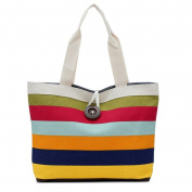 Besde Women Shopping Handbag stripes Shoulder Canvas Bag Tote Purse Bag