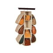 Hever Canvas Hanging Handbag Organiser Collection Handbag File 10 Pockets