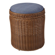 Hampton Bay Spring Haven Brown All Weather Wicker Patio Storage Stool with Sky Blue Cushion
