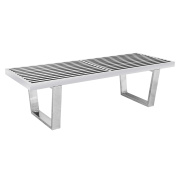 Leisuremod Mid-Century George Nelson Style Platform Bench in Stainless Steel 1.2m