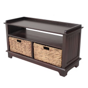 Heather Ann Creations Vale Series Multi Purpose Wood Entryway Storage Bench with 2 Hyacinth Baskets, Espresso