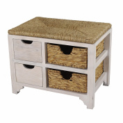 Heather Ann Creations Vale Series Multi Purpose 2 Drawer Wood Entryway Storage Bench with 2 Hyacinth Baskets, Whitewash