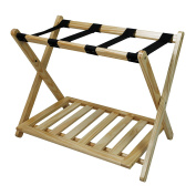 Casual Home Soild Wood Luggage Rack with Shelf, Natural