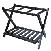 Casual Home Soild Wood Luggage Rack with Shelf, Espresso