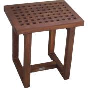 Grate Stool 43cm . Wide Rectangular Seat with Grid Pattern-Dark Brown