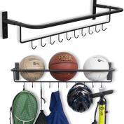 Wall Mount Sports Ball Rack Storage Bar Rail With Hooks Set of 2 Black Garage Organiser