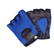 LEATHER MESH FINGERLESS WEIGHT LIFTING EXERCISE GYM WHEELCHAIR GLOVES BLACK/BLUE WLG-021