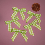 Mini Green and White Chequered Gingham Bows