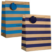 2 PC Gold Stripe MATT finished GIFT BAG for birthday with 2 designs