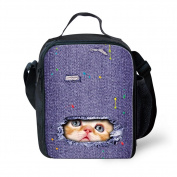Showudesigns Kawaii 3D Jeans Denim Cat Messenger Lunch Tote Kids Lunch Box