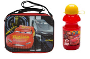 Disney Licenced Cars 3 Black Rectangle Lunch Bag with Strap Plus Water Bottle Set