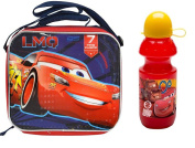 Disney Licenced Cars 3 LMQ 7 Time Champ Blue Rectangle Lunch Bag with Strap Plus Water Bottle