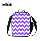 Dispalang Chevron Lunch Bags for Children Striped Print Small Messenger Insulated Cooler Bags for Girls Kids Lunch Box Bags
