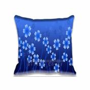 Square 41cm x 41cm Zippered 2D Blue Flower Pillowcases Digital Print Adults Kids Cushion Covers