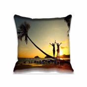Soft Zippered Girl on Beach Sunset Pillowcase Pillow case Cover 41cm X 41cm