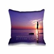 41cm x 41cm Comfortable Sunset Beach Girl Pattern Sofa Bed Home Decor Pillow Case