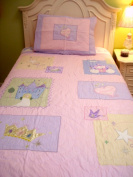Twin Girl Quilt, Patchwork Style Quilts For Girls With Appliques, 1 Sham, 100% Cotton, 68 x 86, Multiple Designs