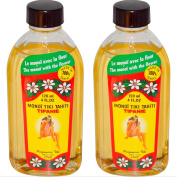 Monoi Tiki Tahiti Tipanie Frangipani Coconut Oil (Pack of 2), Scented With Fresh Handpicked Tiare Flowers, 100% Made in Tahiti, 120ml