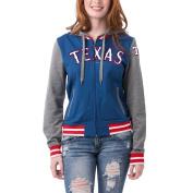 Texas Rangers Women's French Terry Contrast Sleeves Zip Up Hoodie