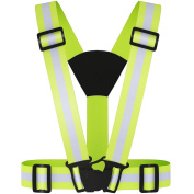 Reflective Running Gear, Reflective Safety Vest , Waist Belt , Armband or Ankle Bands, Adjustable lightweight and High Visibility for Outdoor Jogging, Cycling, Walking, Motorcycle Riding and Running