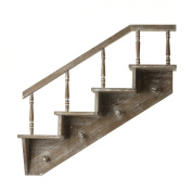 Wooden Wall Mounted Staircase Shelf With Key Hooks (One Size)