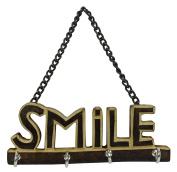 Smile Decorative Wooden Wall Mounted Hanging Key Hanger Small 4 Hooks Organiser