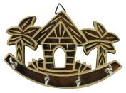 Decorative Wall Hanging Wooden Boat House Key Holder Small 4 Hooks Organiser