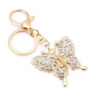Ladaidra Luxury Rhinestone Diamond Gold Butterfly Keychain-Key Chain for Handbag Tote Bag Pendant Charming Decoration
