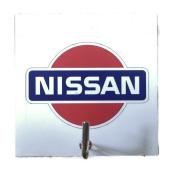 Agility Bathroom Wall Hanger Hat Bag Key Adhesive Wood Hook Vintage White fits Nissan Car Logo's Photo