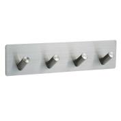 Mellewell Self Adhesive Hooks Hook Rail Rack, Robe Towel Hanger fou Bathroom Kitchen, Brushed Nickel, 4 Hook, 02005H4