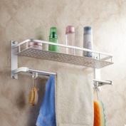 Bath/Kitchen Aluminium Storage Shelf Wall Mount Shower Shelving Towel Bars with Hooks LO4606308