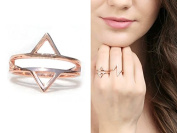 Opposites Attract Ring Rose Gold Plated , Band Ring, Wedding Band Ring, - Ring Size- 7us