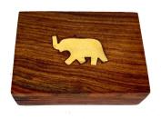 Rastogi Handicrafts Wooden Brass Elephant Inlay on Top Trinket Jewellery Box, Sleek and Simple Gift for Women, Size - 9.5x7x3 cm